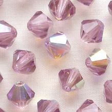 6mm Preciosa Crystal Bicones Light Amethyst AB - 72
